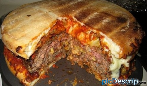 picDescrip.com - WTF?! - Bacon and cheese stuffed pizza burger....need i say more?