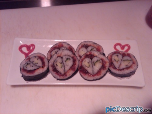 picDescrip.com - Photography and Art - Heart Sushi Designed by Go-Fish Sushi Chefs