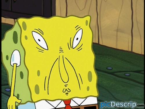 picDescrip.com - TV - Spongebob. He doesn't know what to do.