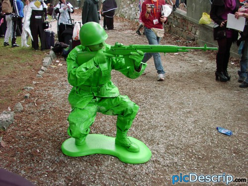 picDescrip.com - Photography and Art - Giant, real army figurine.