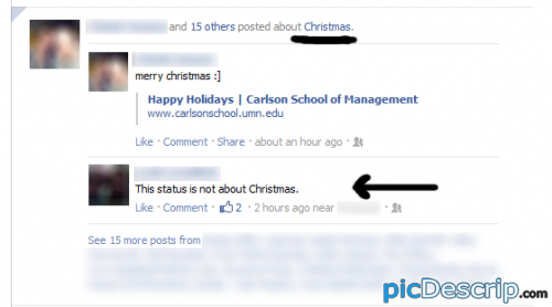 picDescrip.com - Fail - This status is NOT about Christmas.(Well, Facebook thinks it is)